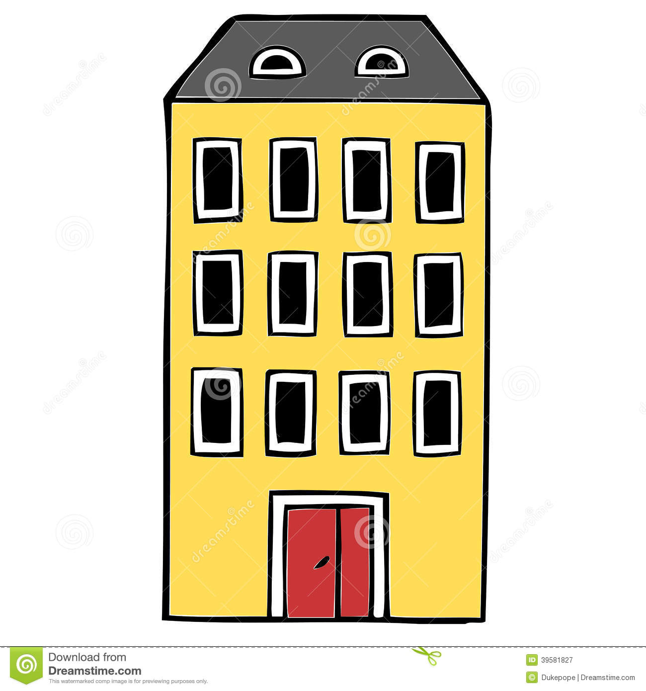 Apartment Block Stock Illustration.