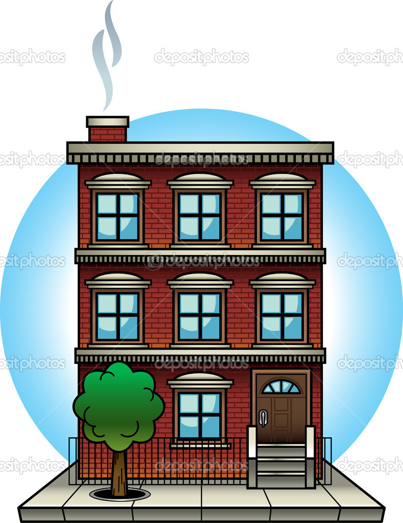 Apartment vs house clipart.