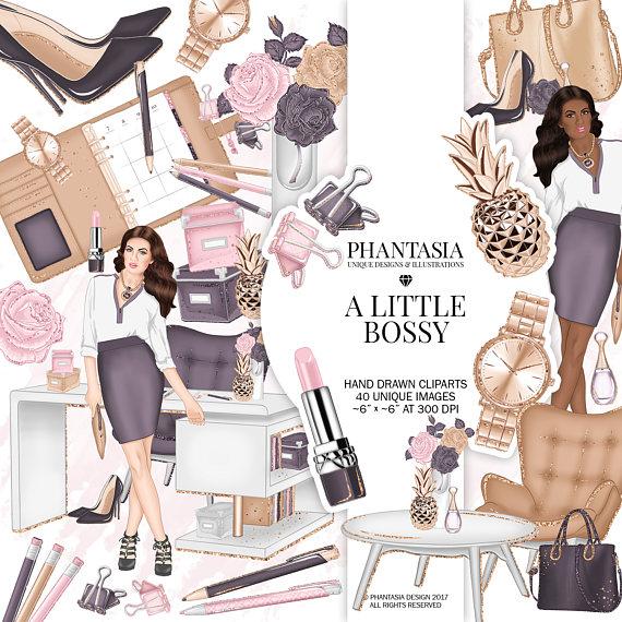 Girl Boss Clipart, Office Clipart, Fashion Clipart.