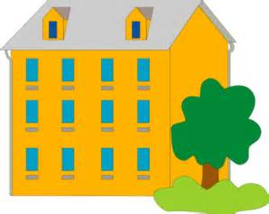 Clip Art Residential apartment building with trees and a black cat.