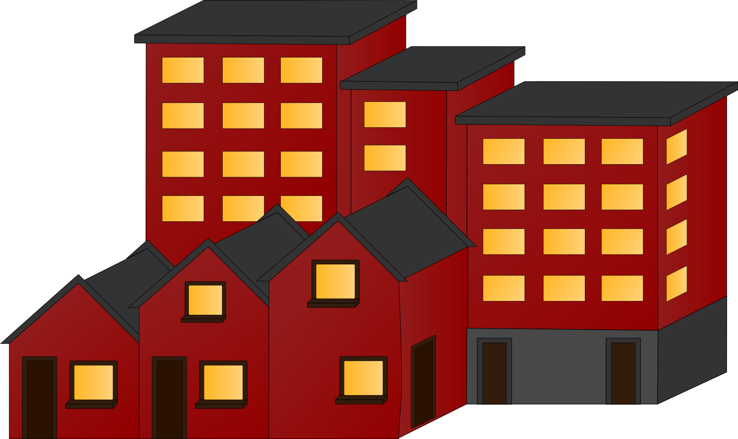 Apartments Town Houses Building Clip Art, Appartment buildings and.