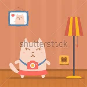 Apartment Cartoon Cat Room.