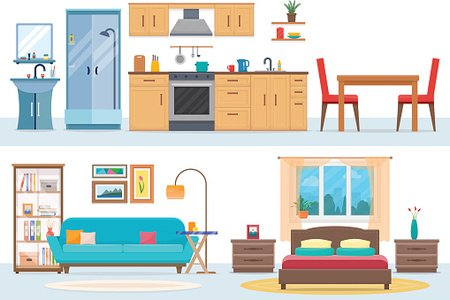 Apartment inside Clipart Image.