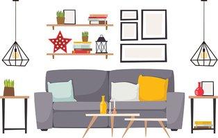 Apartment Interior Vector Illustration Stock Vector.