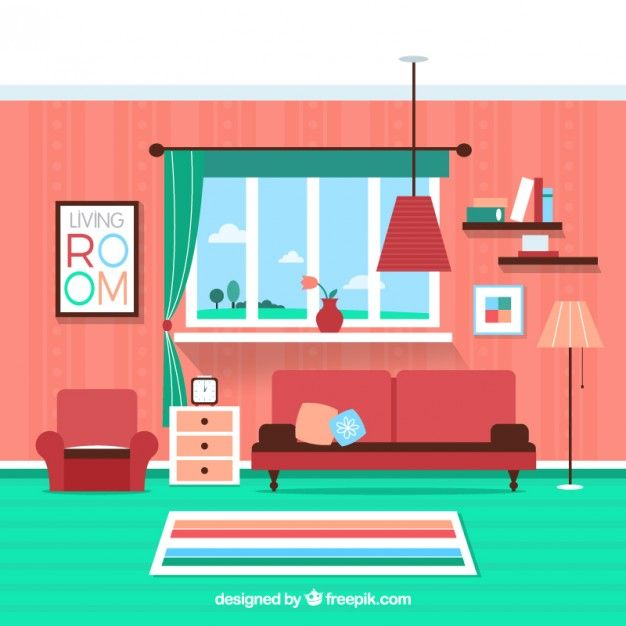 Colorful living room Free Vector in 2019.