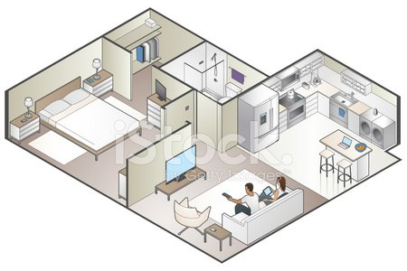 Isometric Apartment Cutaway Clipart Image.