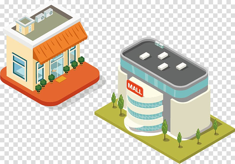 Shopping mall and convenient store , Building Isometric.