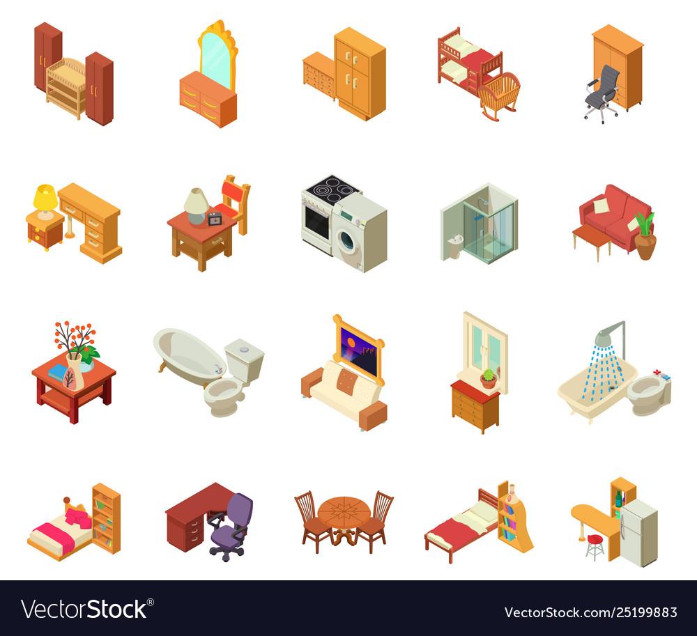 Apartment icons set isometric style.