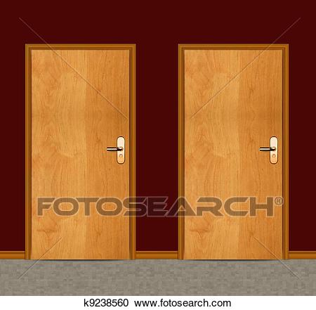 Apartment wooden door Clipart.