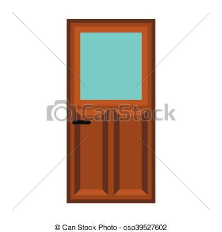 Interior apartment wooden door icon, flat style.