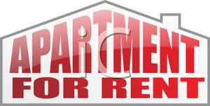 Red Lettered Apartment For Rent Sign.