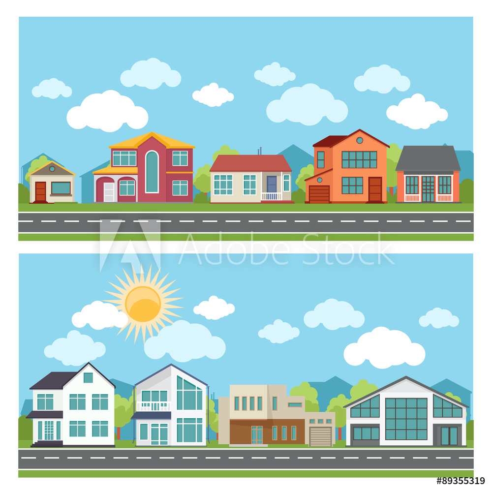 Photo & Art Print Vector banners with cottage houses in flat.