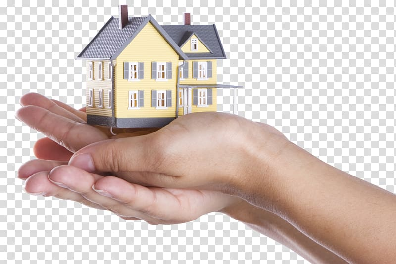 Person holding miniature house, Property management Real.