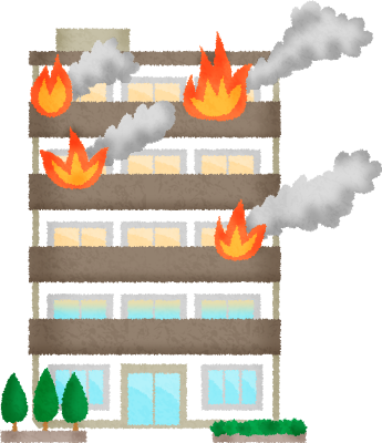 Apartment on fire.