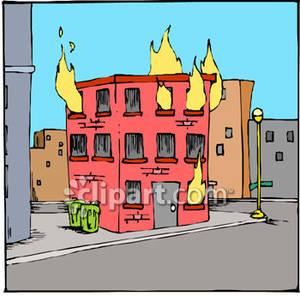 Fire Building Clipart.