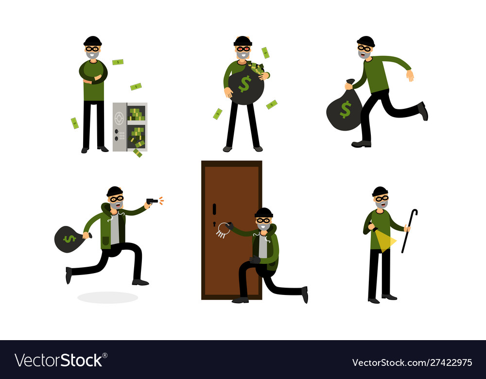 Cartoon burglar character in.