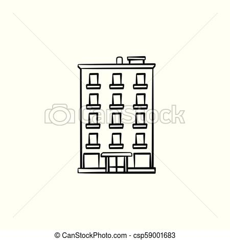 Apartment building hand drawn outline doodle icon..