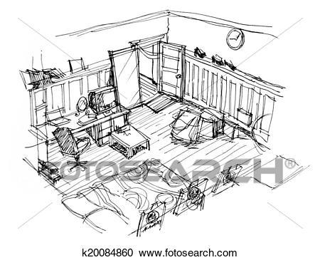Interior apartment sketch Clipart.