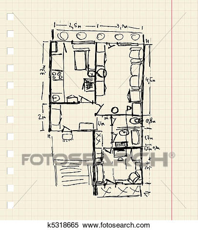 Redevelopment of apartment, sketch Clipart.