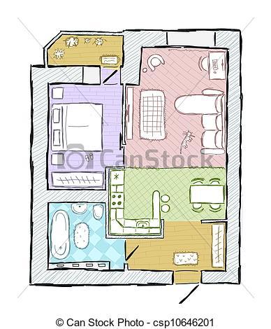 Sketch of design interior apartment, hand drawn vector illustration.
