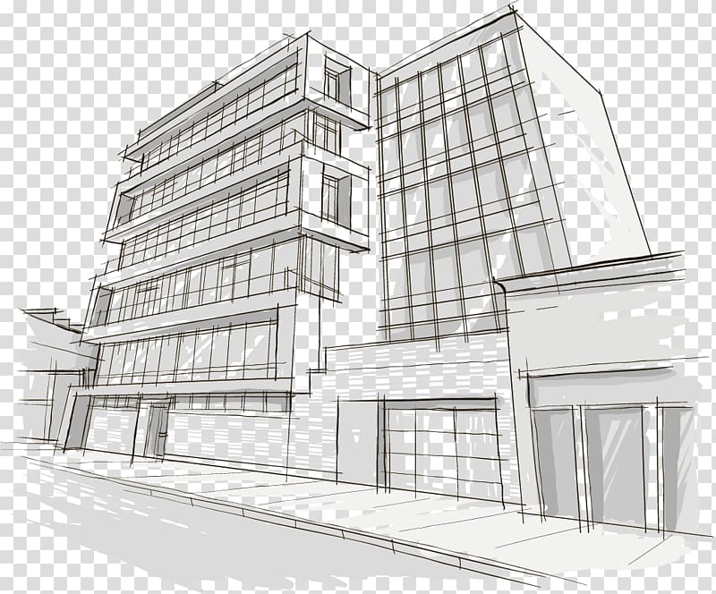 White and blue building sketch illustration, Drawing.