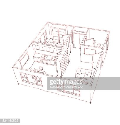 3d interior freehand sketch pen drawing of furnished home.
