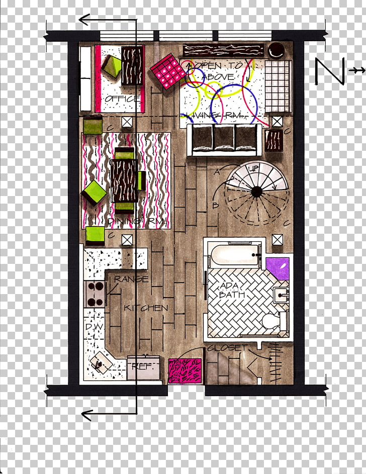 Floor plan Architectural drawing Sketch, Color painted.