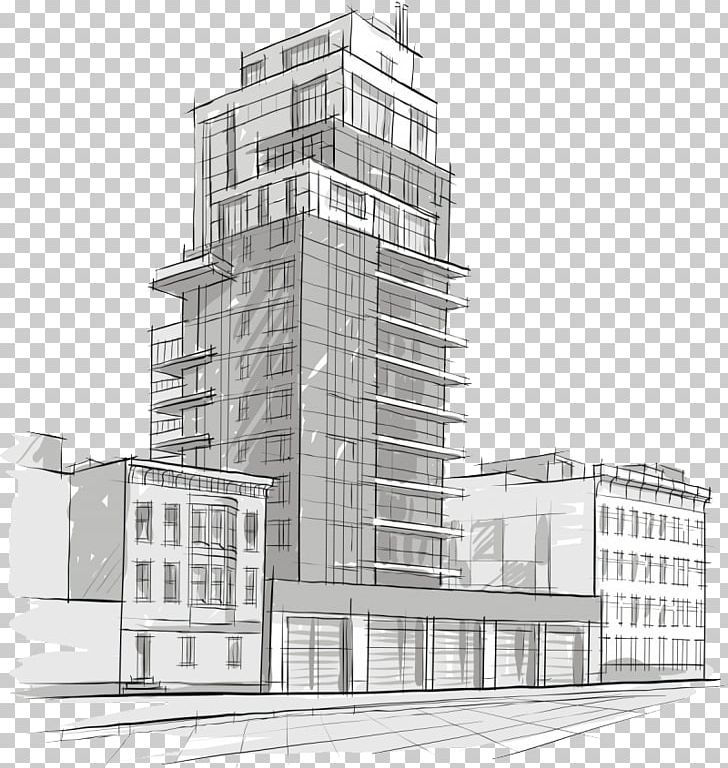 Architectural Drawing Architecture Sketch Building PNG.