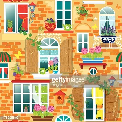 Seamless pattern with Windows and flowers. Summer or spring.