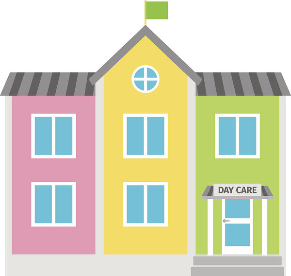 Daycare Colorful Building Flat Icon Art Print.