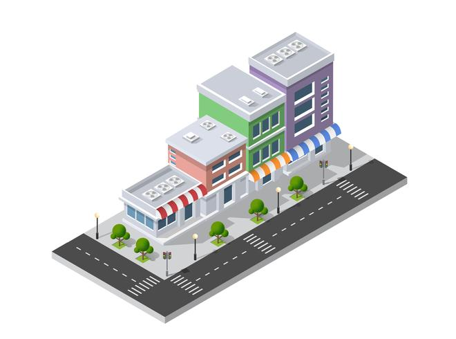 District of the city street houses Isometric.