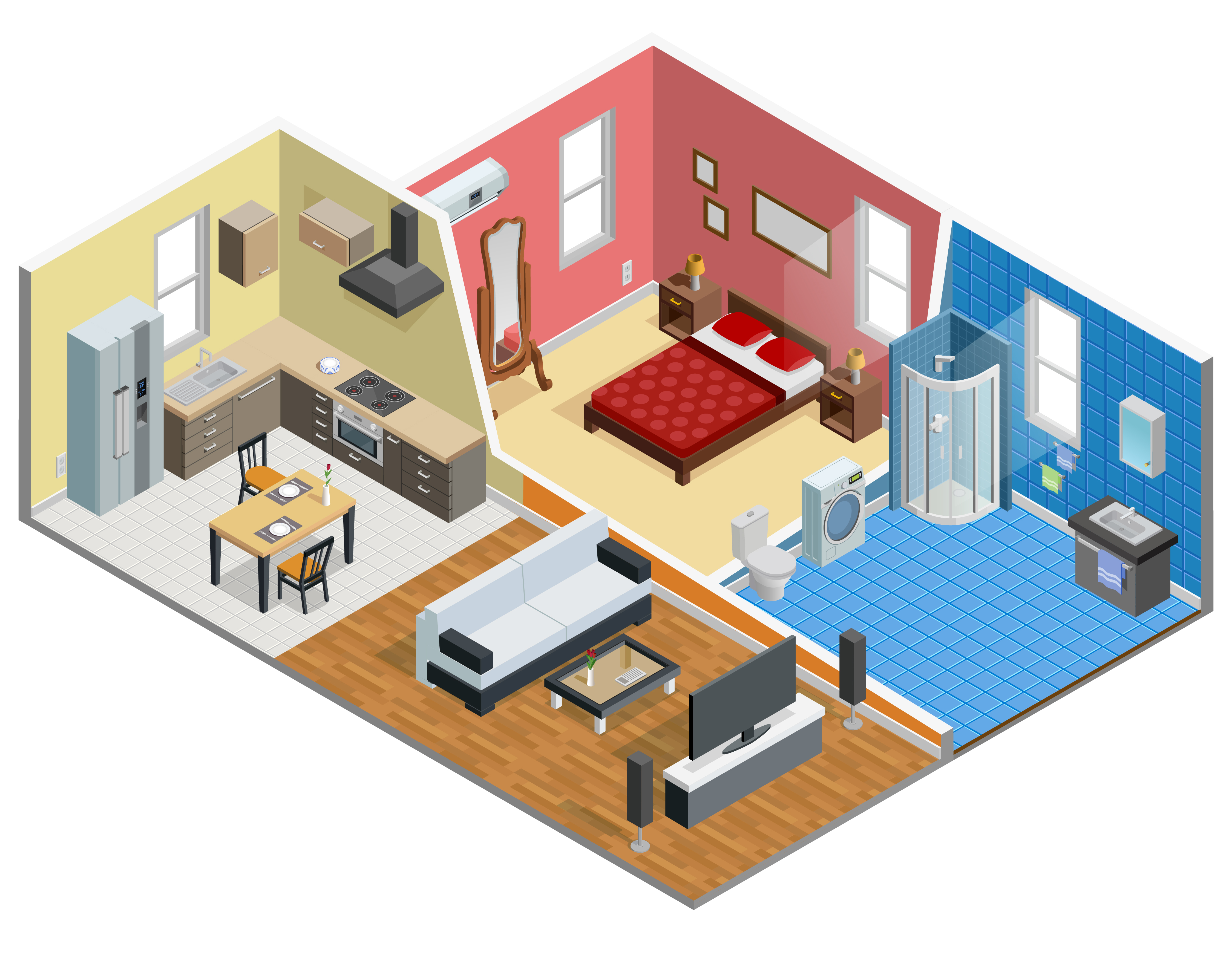 Apartment Isometric Design.