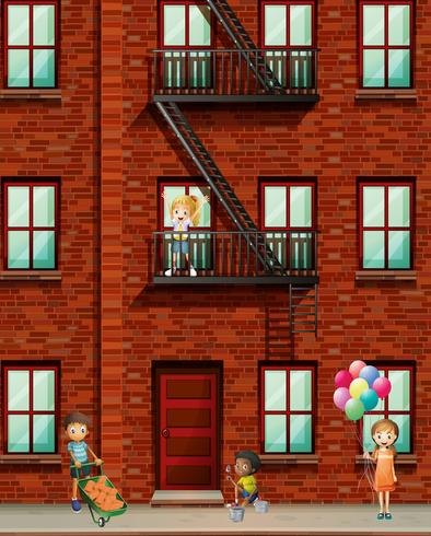 Apartment building with many kids.