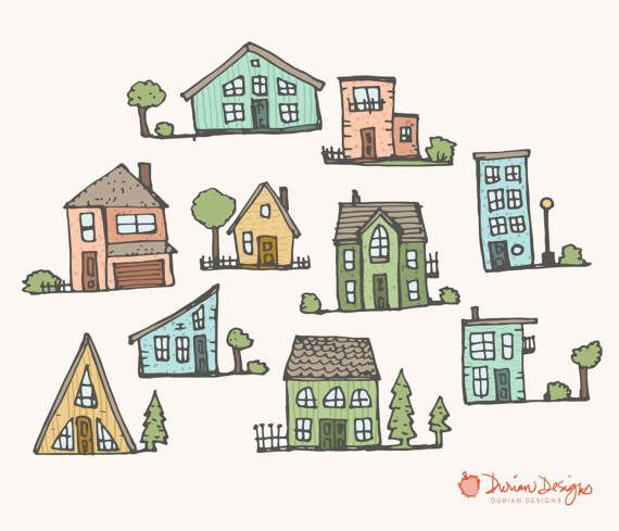 Cute houses clipart commercial use homes pastel trees.