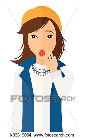 Apathetic young woman yawning. Clipart.