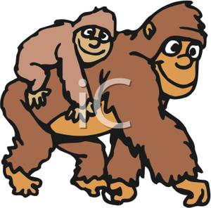 Cartoon of a Mother Gorilla with Her Baby on Her Back.