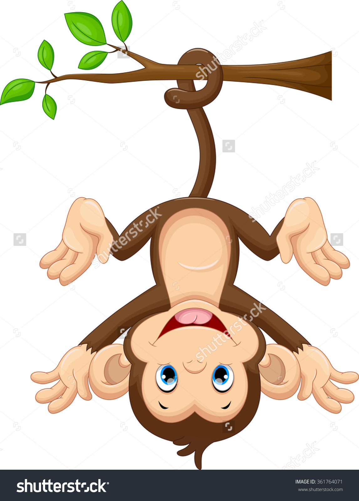 Cute Baby Monkey Hanging On Tree Stock Vector 361764071.