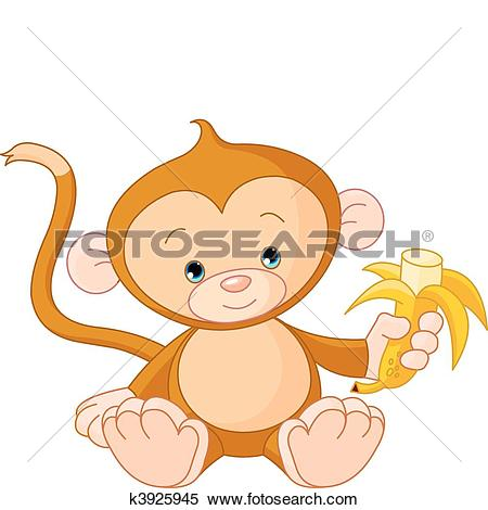 Clipart of Baby Monkey eating banana k3925945.