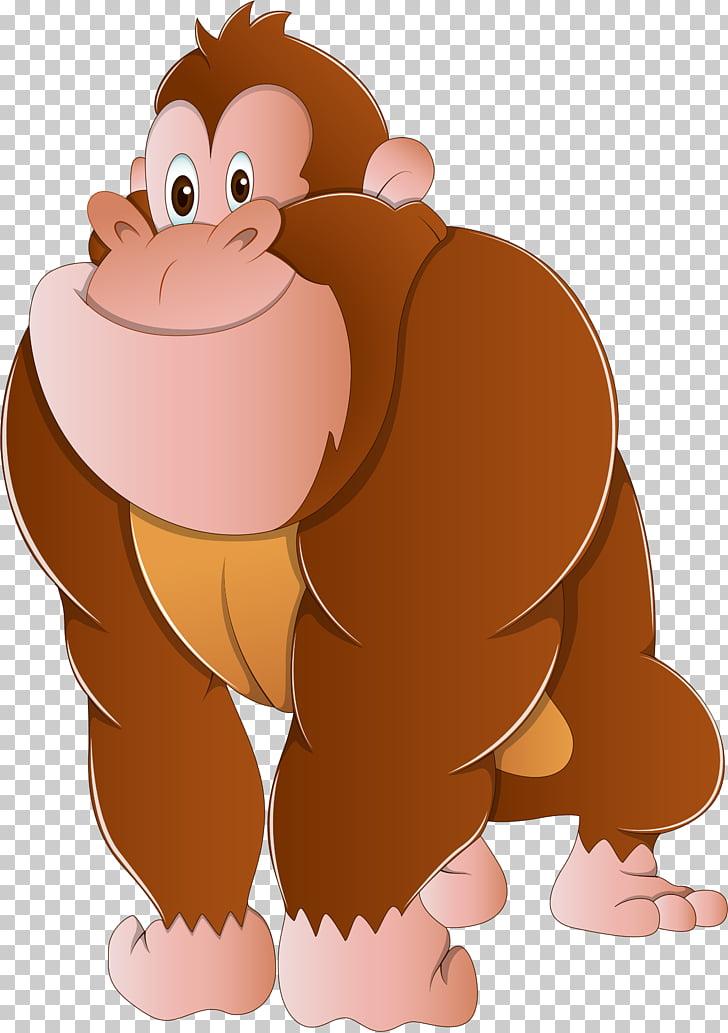 Gorilla Ape , Cartoon Gorilla, monkey PNG clipart.