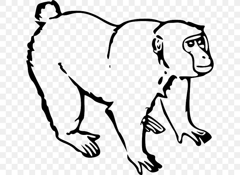 Monkey Ape Drawing Clip Art, PNG, 640x598px, Monkey, Animal.
