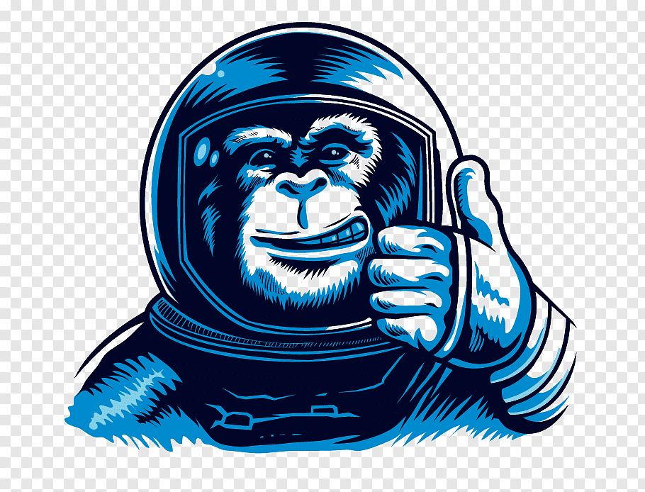Monkey astronaut illustration, Chimpanzee Monkeys and apes.