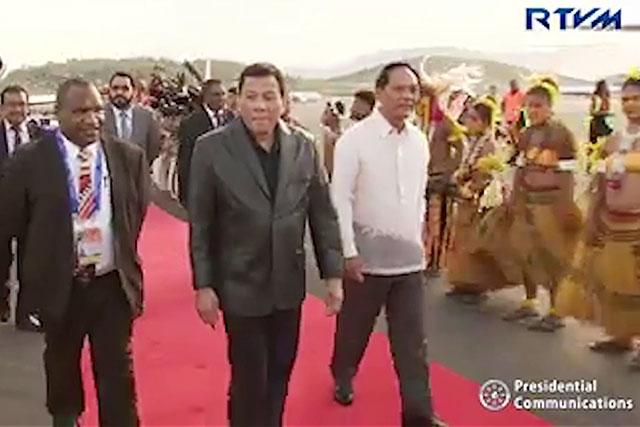Duterte arrives in PNG for APEC Meeting, historic visit.
