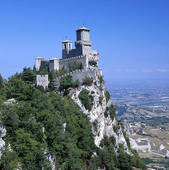 Stock Photography of Castle on cliff, Monte Titano, San Marno.
