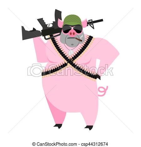 Vectors Illustration of Pig soldiers. swine War. Wild boar with.