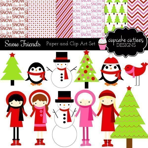 Winter Friends Clip Art Paper Set.