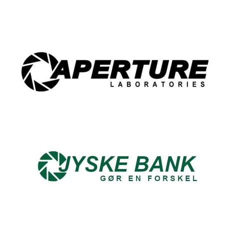 A Danish bank uses the aperture science logo from portal.