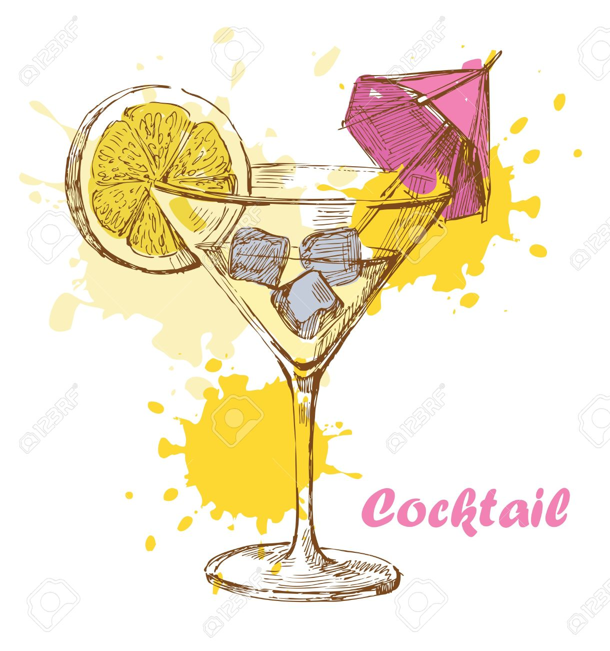 Hand Draw Cocktail Royalty Free Cliparts, Vectors, And Stock.