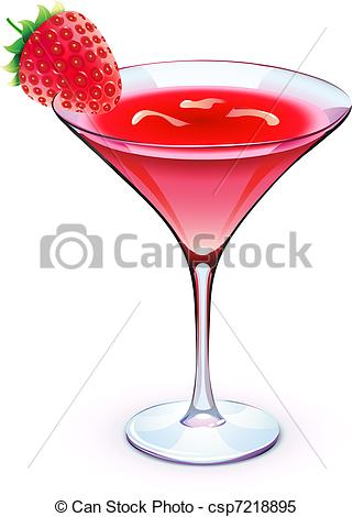 Clipart Vector of red cocktail.