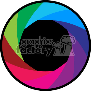 vector camera shutter colorful flat design aperture icon clipart.  Royalty.