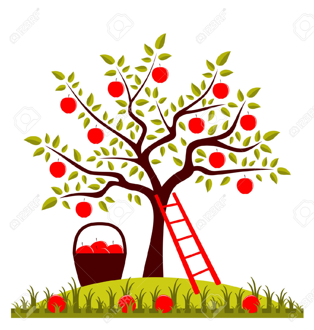 Apple Tree, Ladder And Basket Of Apples Royalty Free Cliparts.
